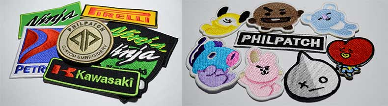 This shows some of the patches we made with iron on backing